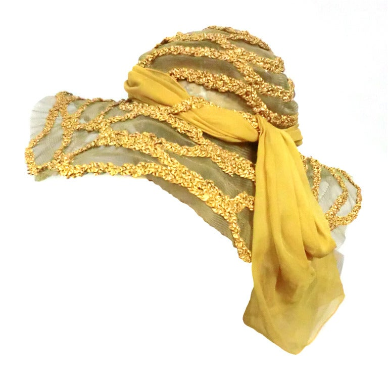 "1920s Straw and Horsehair Braid ""Gatsby"" Hat w/ Silk Chiffon"
