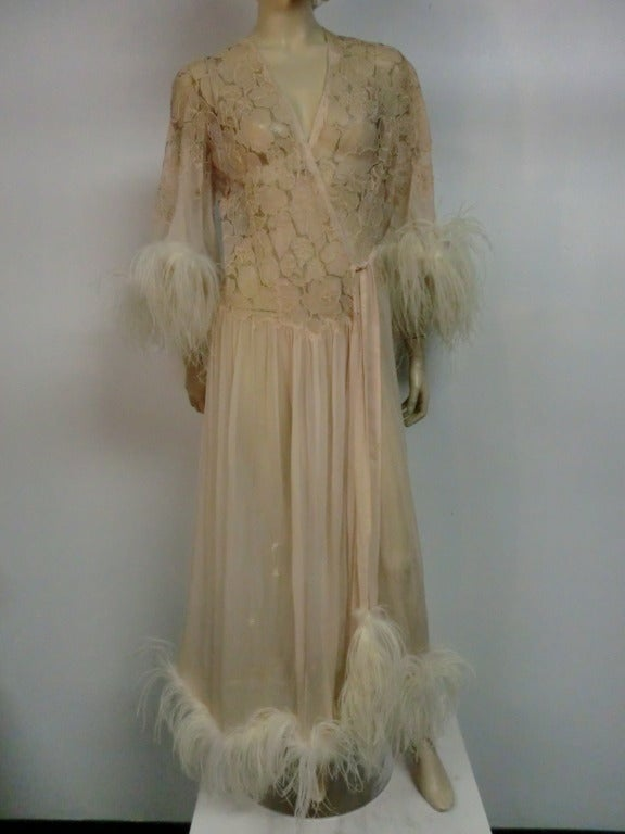 1920's Silk Lace and Chiffon Negligee w/ Ostrich Feather Trim 2