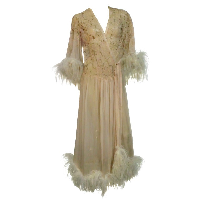 1920's Silk Lace and Chiffon Negligee w/ Ostrich Feather Trim 1