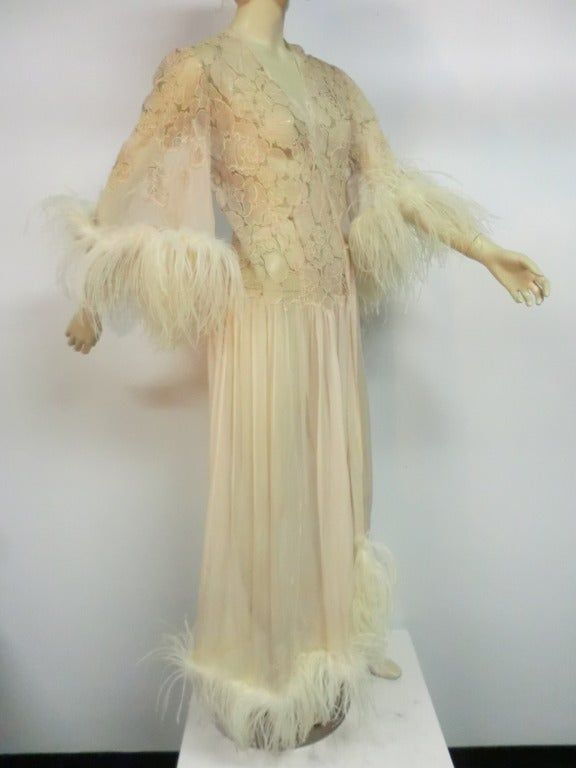 1920's Silk Lace and Chiffon Negligee w/ Ostrich Feather Trim 3