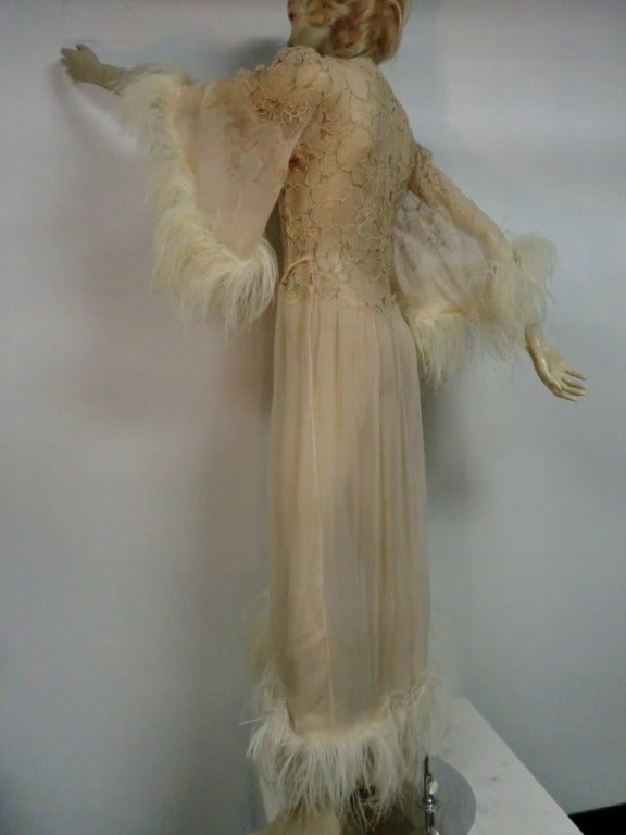 1920's Silk Lace and Chiffon Negligee w/ Ostrich Feather Trim 4