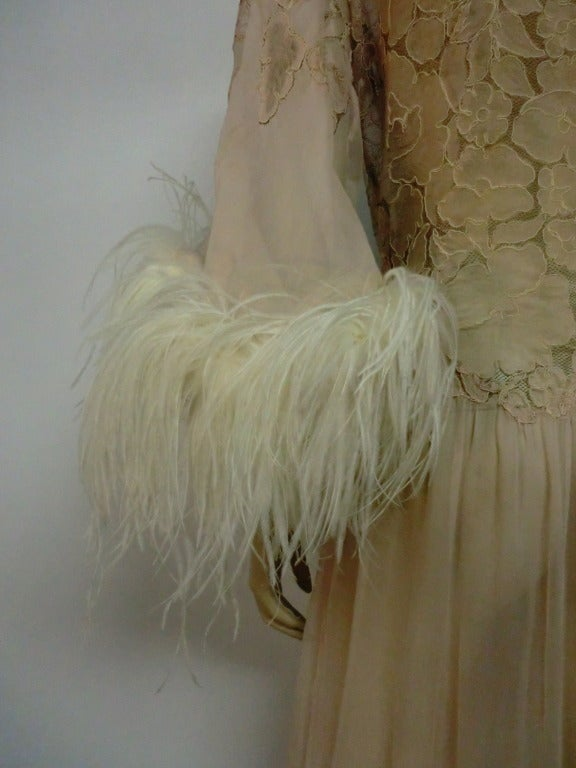 1920's Silk Lace and Chiffon Negligee w/ Ostrich Feather Trim 5