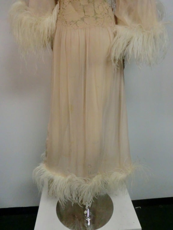 1920's Silk Lace and Chiffon Negligee w/ Ostrich Feather Trim 7