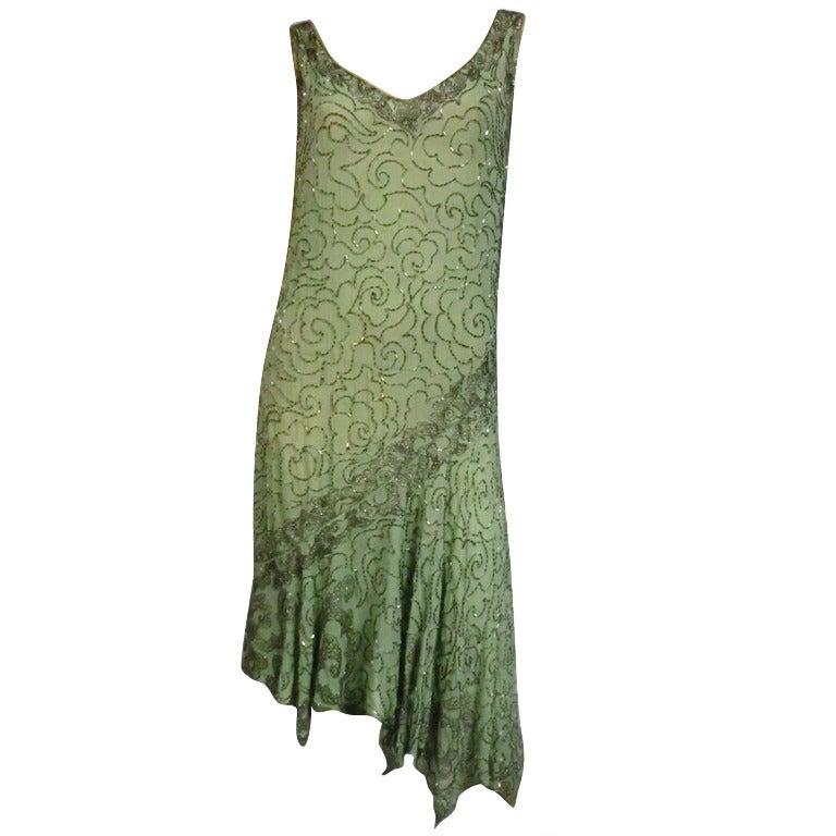 1920's Art Deco Mint Green Silk Asymmetrical Beaded Tea Dress 1