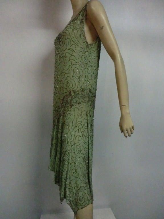 1920's Art Deco Mint Green Silk Asymmetrical Beaded Tea Dress 3