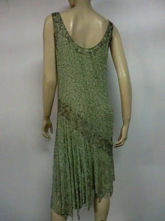 1920's Art Deco Mint Green Silk Asymmetrical Beaded Tea Dress 4