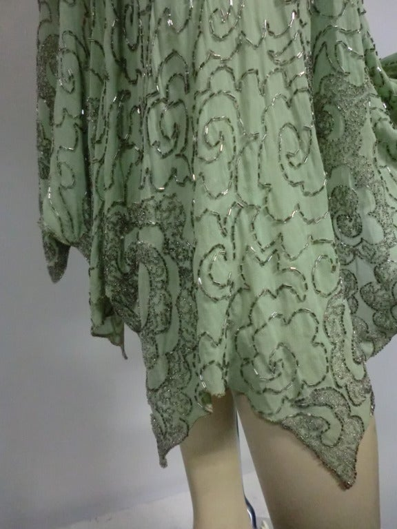 1920's Art Deco Mint Green Silk Asymmetrical Beaded Tea Dress 5
