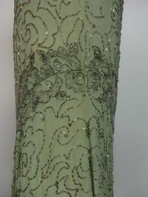 1920's Art Deco Mint Green Silk Asymmetrical Beaded Tea Dress 6