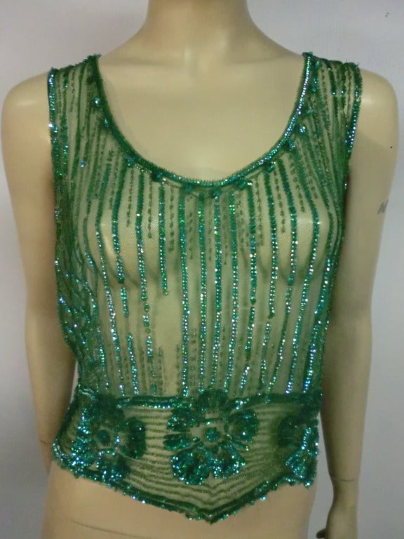 1920's Art Deco Vivid Green Sequined Tabard Style Evening Piece 2