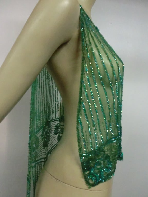 1920's Art Deco Vivid Green Sequined Tabard Style Evening Piece 5