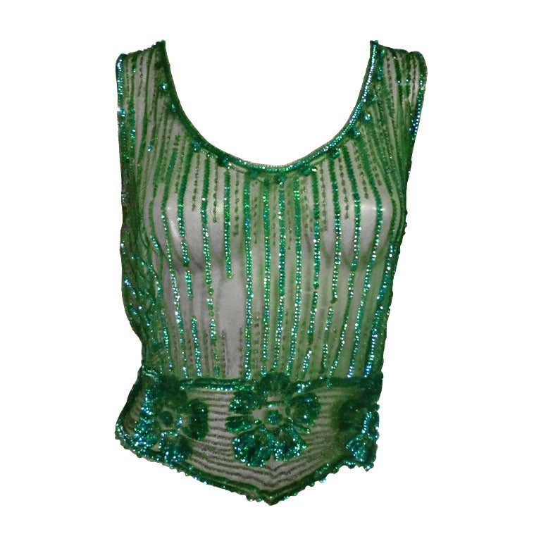 1920's Art Deco Vivid Green Sequined Tabard Style Evening Piece 1