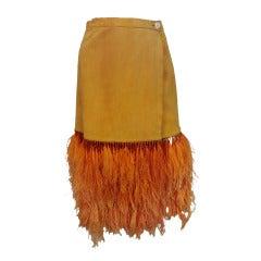 Anna Tzrebinski Orange Suede Skirt w/ Hand-Tied Ostrich Feather Fringe
