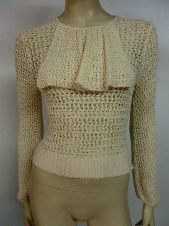 1920's Caged Knit Sweater with Neck Ruffle 2