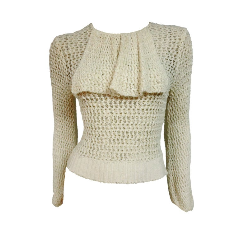 1920's Caged Knit Sweater with Neck Ruffle 1