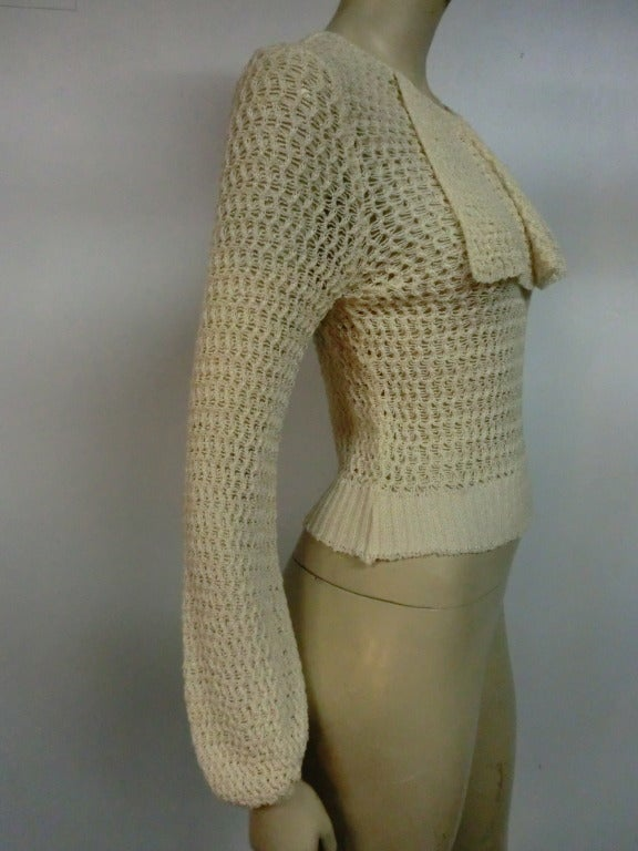 1920's Caged Knit Sweater with Neck Ruffle 3