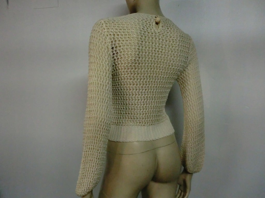 1920's Caged Knit Sweater with Neck Ruffle 4
