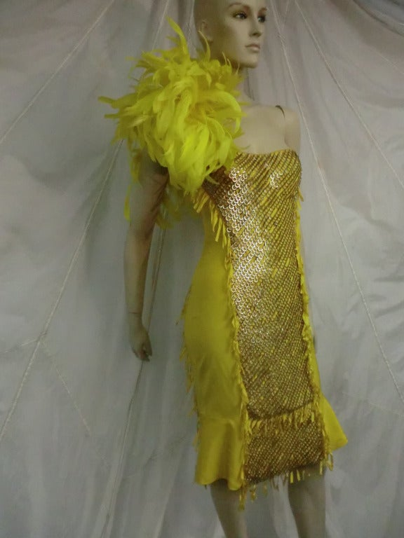 "Gucci ""Ten Thousand Rings"" Dress in Canary Yellow 5"