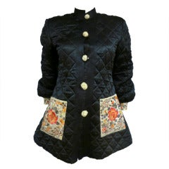 1920's Art Deco Chinese Quilted Silk Satin and Embroidered Jacket