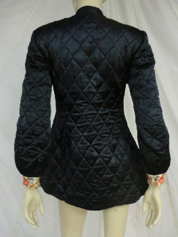 Black 1920's Art Deco Chinese Quilted Silk Satin and Embroidered Jacket For Sale