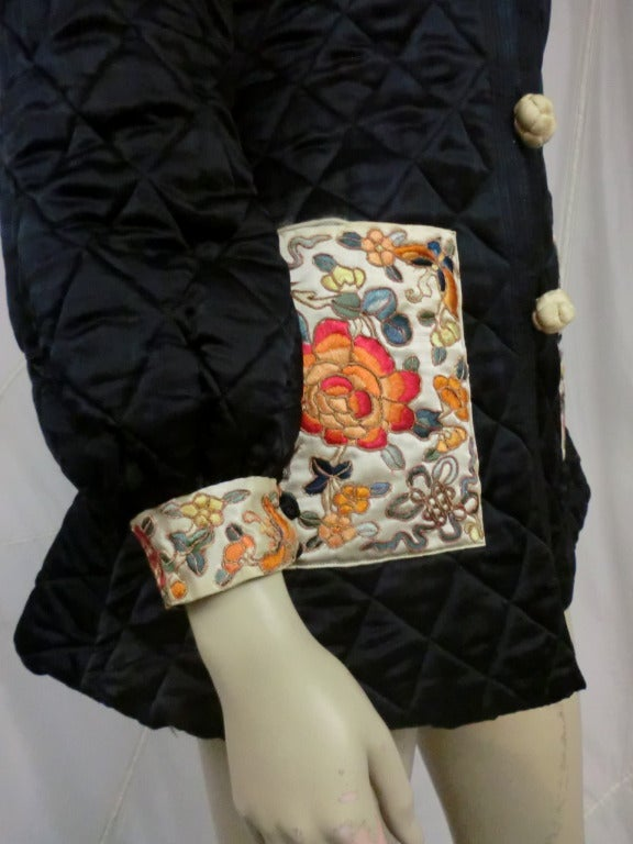 Women's 1920's Art Deco Chinese Quilted Silk Satin and Embroidered Jacket For Sale