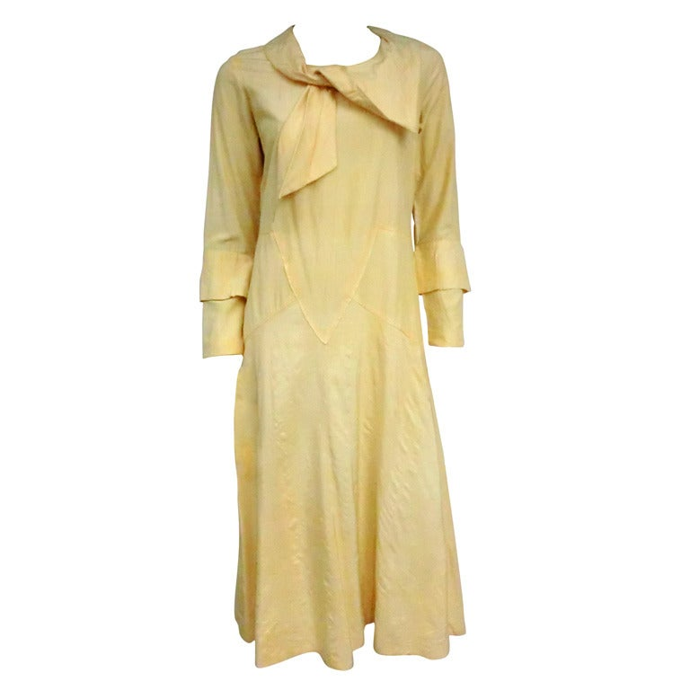 1920 S Silk Day Dress With Incredible Seaming Collar And