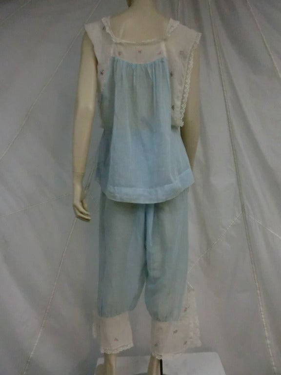 1920 S Quot Ingenue Quot Cotton Voile And Lace Pajama Set At 1stdibs
