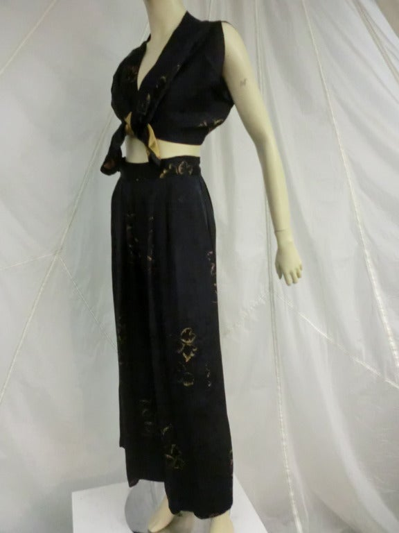 1940's 3-Piece Pajama and Smoking Jacket Ensemble 4