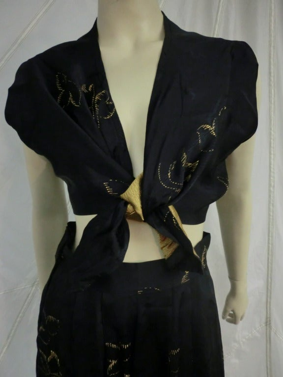 1940's 3-Piece Pajama and Smoking Jacket Ensemble 5