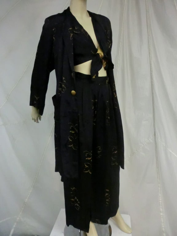 1940's 3-Piece Pajama and Smoking Jacket Ensemble 6