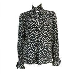 "Yves Saint Laurent Silk ""Star"" Blouse w/ Necktie"