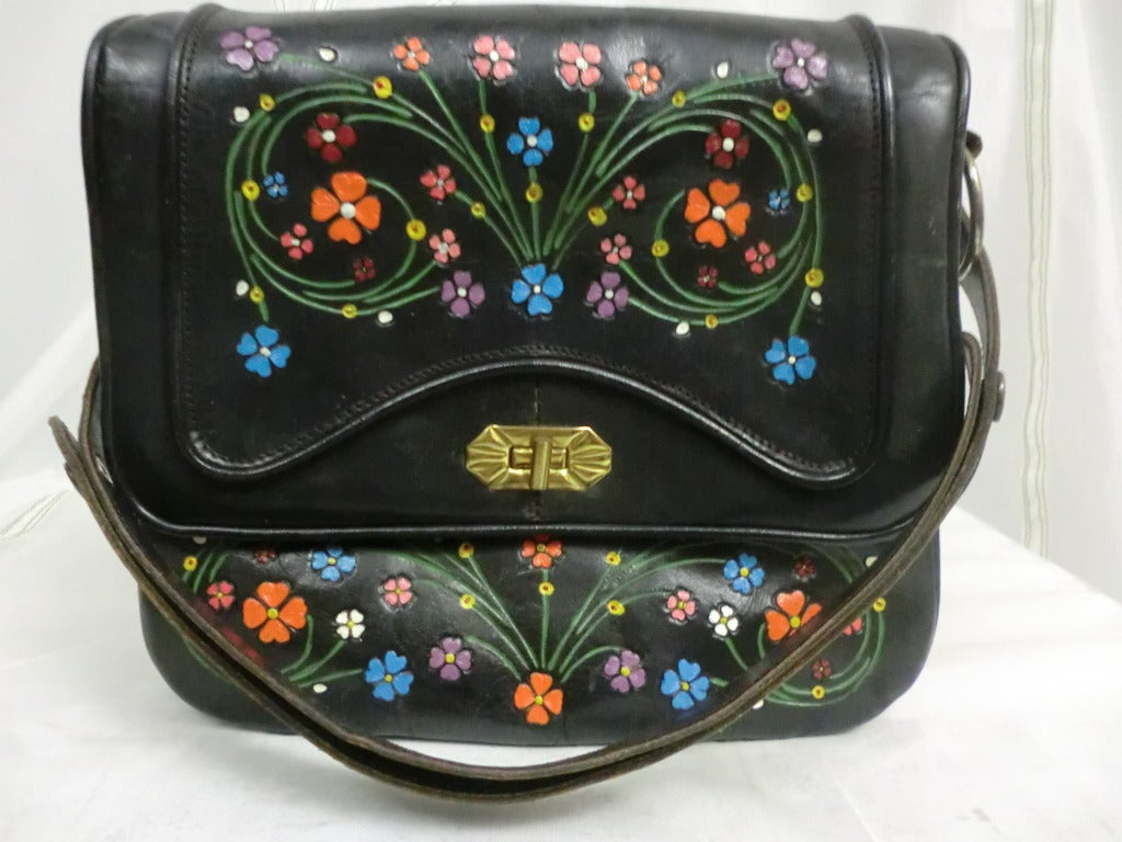 1970's Tooled and Painted Leather Handbag 2