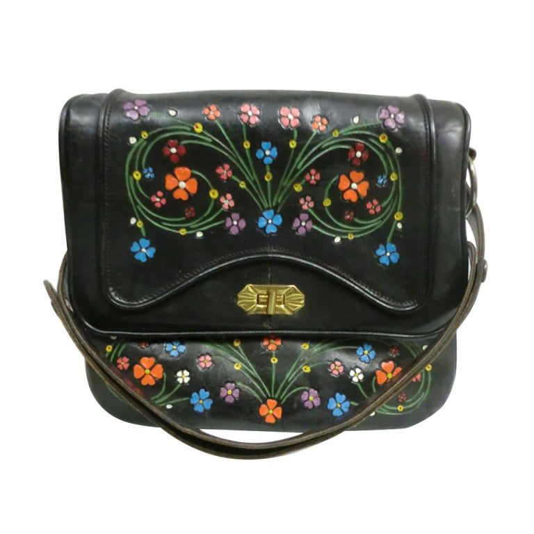 1970's Tooled and Painted Leather Handbag 1