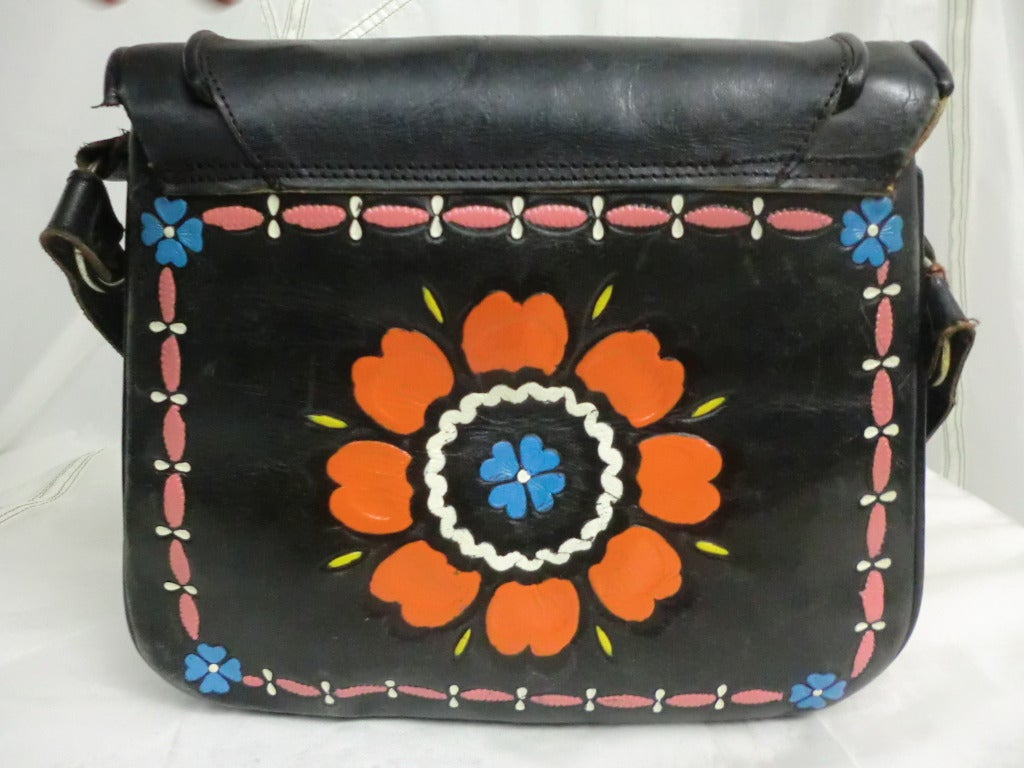1970's Tooled and Painted Leather Handbag 3
