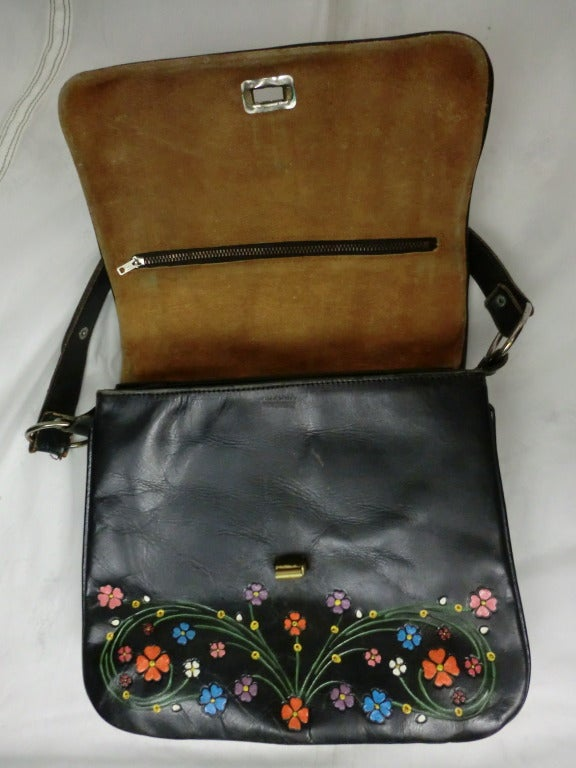 1970's Tooled and Painted Leather Handbag 4