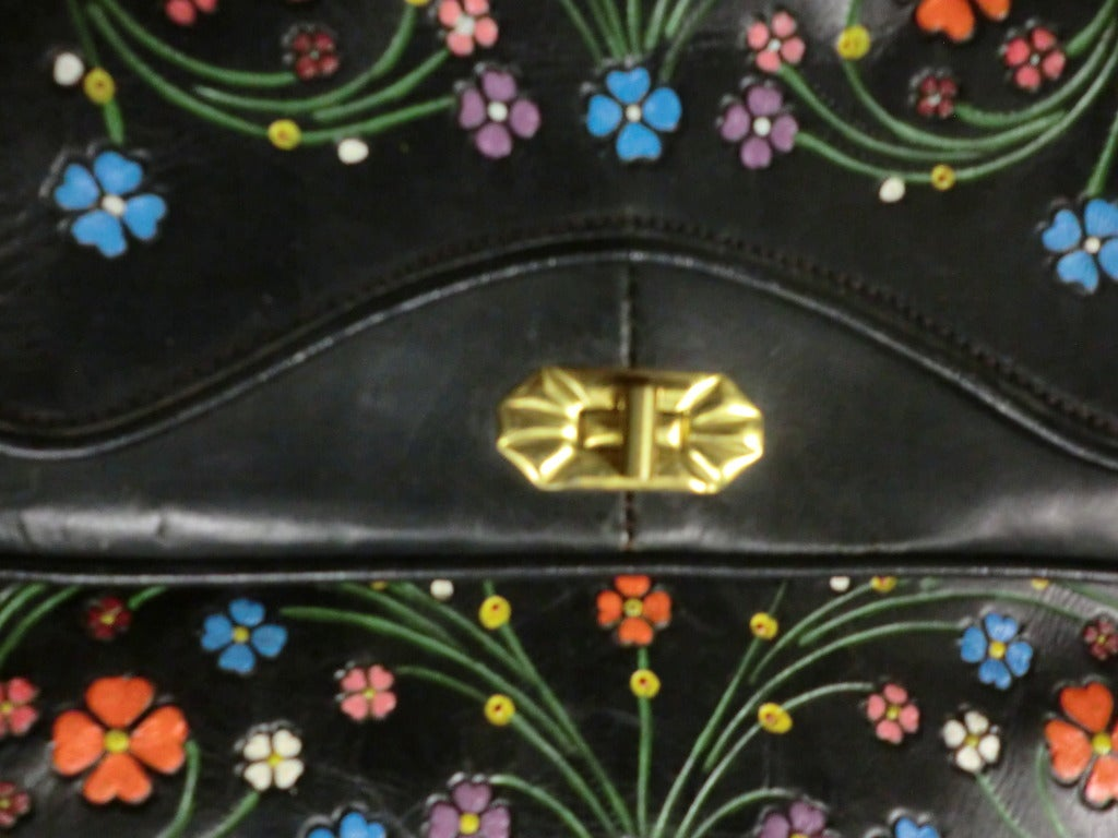 1970's Tooled and Painted Leather Handbag 5