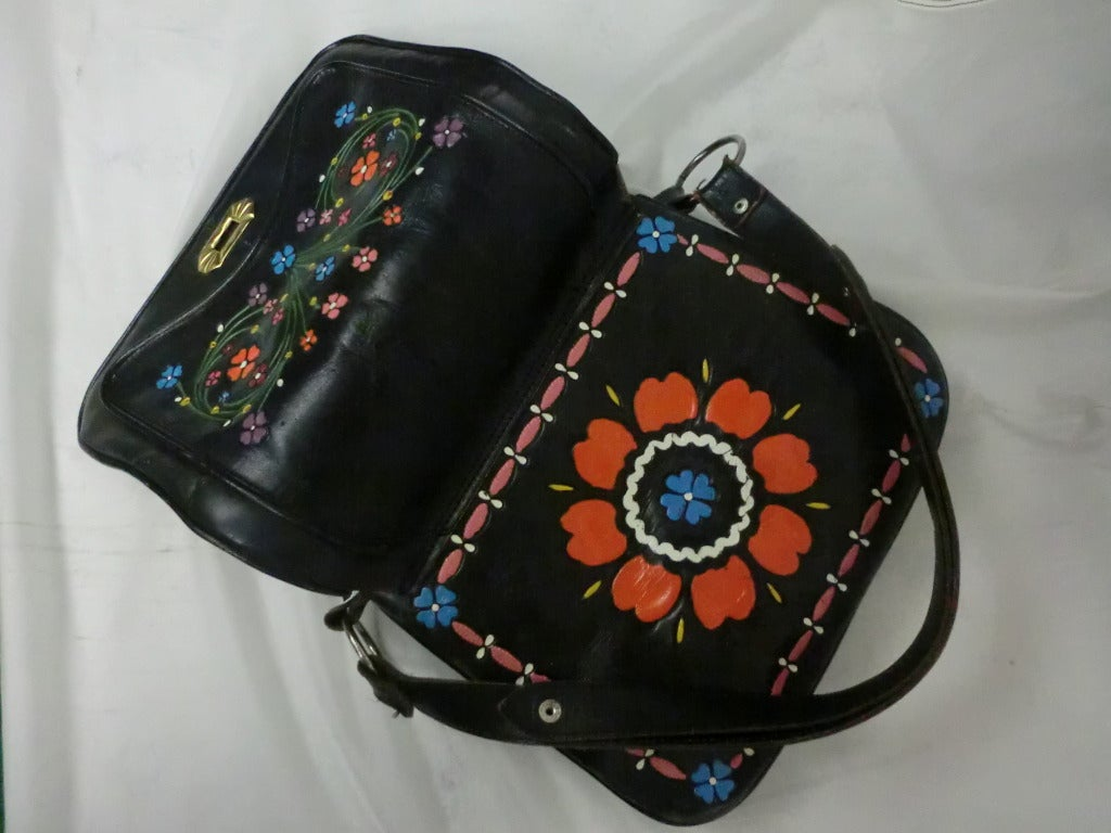 1970's Tooled and Painted Leather Handbag 6