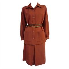 Yves Saint Laurent 1970's Suit in Wool Gabardine