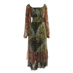 1970's Scott Barrie Chiffon Boho Maxi Dress