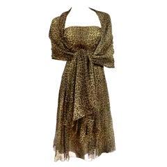 Halston Leopard Chiffon Strapless Dress w/ Foulard