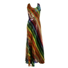 1970's Couture André Laug Rainbow Sequined Disco Gown