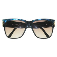 1970's Charles Jourdan Sunglasses in Black and Turquoise Faux Mother of Pearl