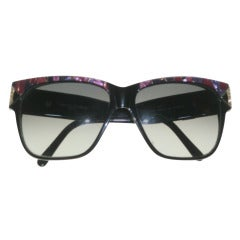 1970's Charles Jourdan Sunglasses in Black and Magenta Faux Mother of Pearl