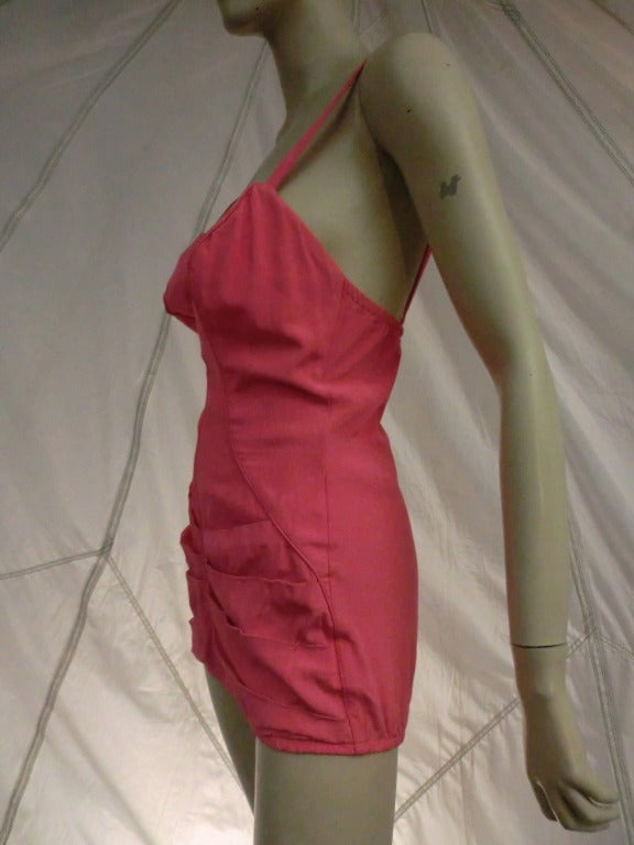 1950's Catalina Pink One-Piece Pin-Up Style Bathing Suit In Excellent Condition For Sale In San Francisco, CA