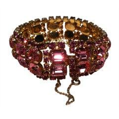 1960s Pink Rhinestone Bracelet w/ Baguettes and Gold-Tone Setting