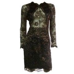 1980s Geoffrey Beene Chocolate Brown Peek-a-Boo Lace Dress