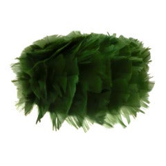 1960s Kelly Green Turkey Feather Pill Box Hat from Terry B.