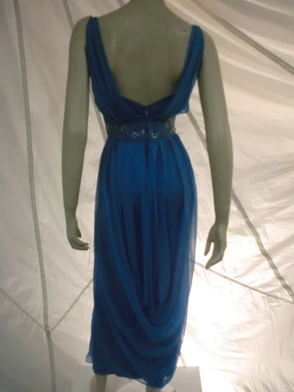 "1960s Royal Blue Silk Chiffon Draped ""Grecian"" Style Gown w/ Jeweled Cummerbund 2"