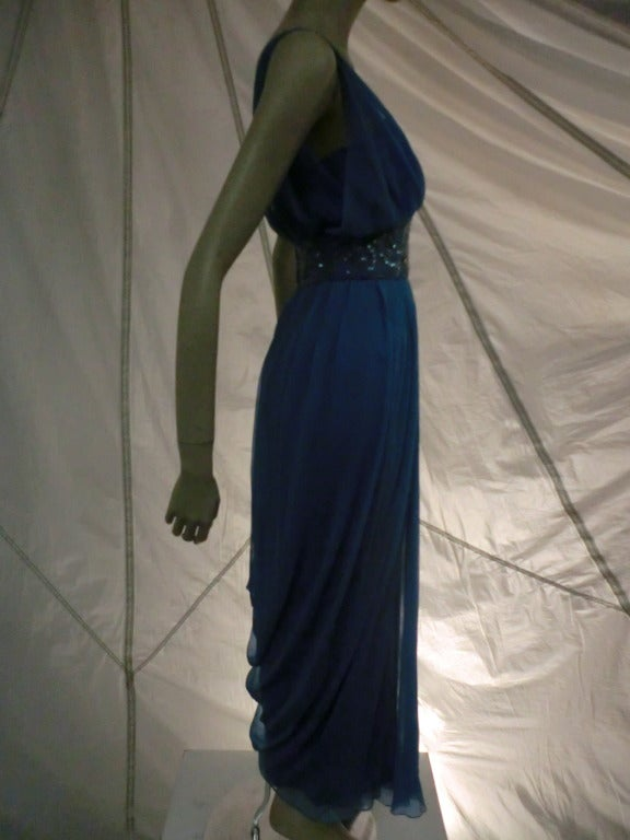 "1960s Royal Blue Silk Chiffon Draped ""Grecian"" Style Gown w/ Jeweled Cummerbund 3"