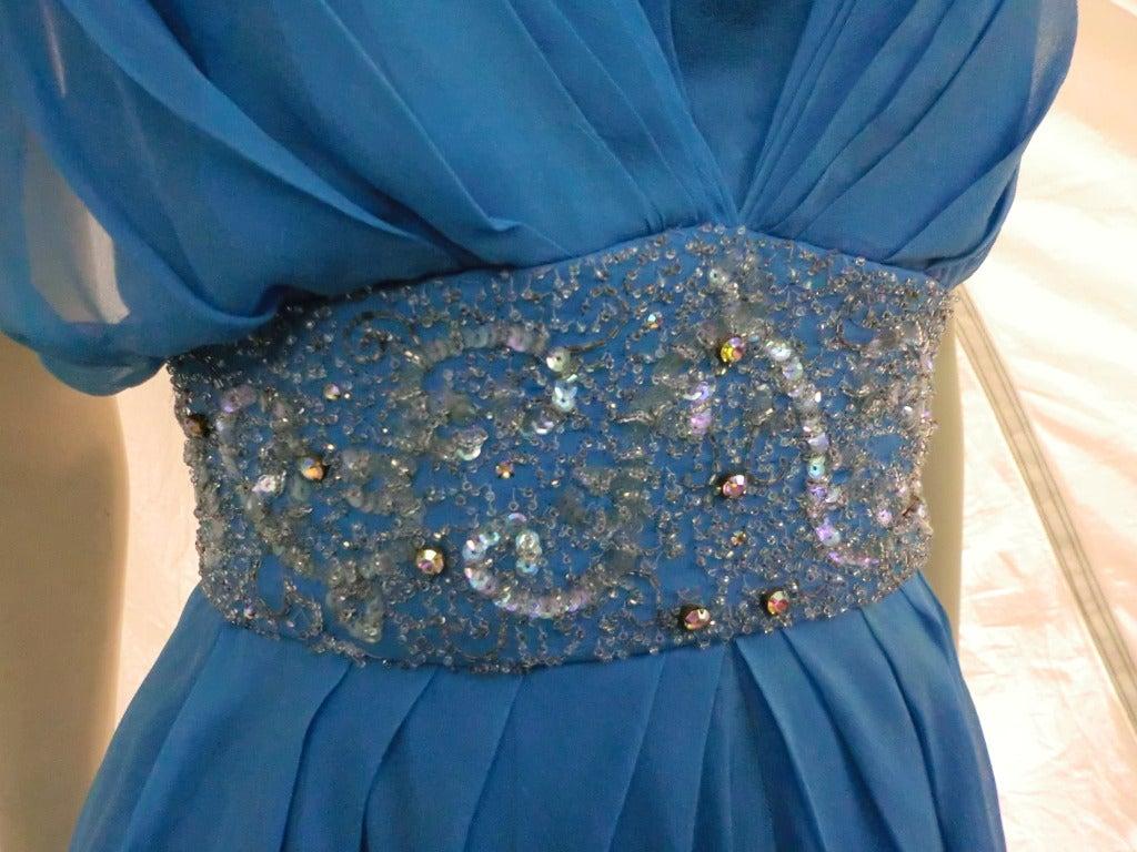 "Women's 1960s Royal Blue Silk Chiffon Draped ""Grecian"" Style Gown w/ Jeweled Cummerbund For Sale"