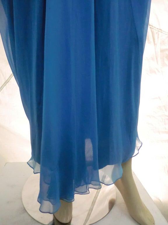 "1960s Royal Blue Silk Chiffon Draped ""Grecian"" Style Gown w/ Jeweled Cummerbund 6"